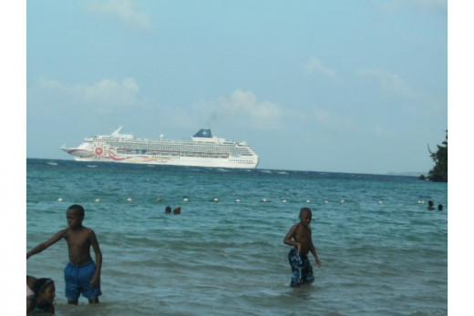 A Norwegian Cruise Ship in the Vicinity of Dunn's River Falls, Jamaica