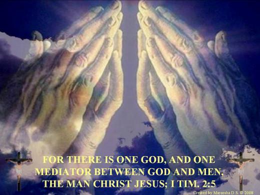 Hands praying across the sea (+One mediator)