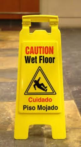 Warning of wet floors