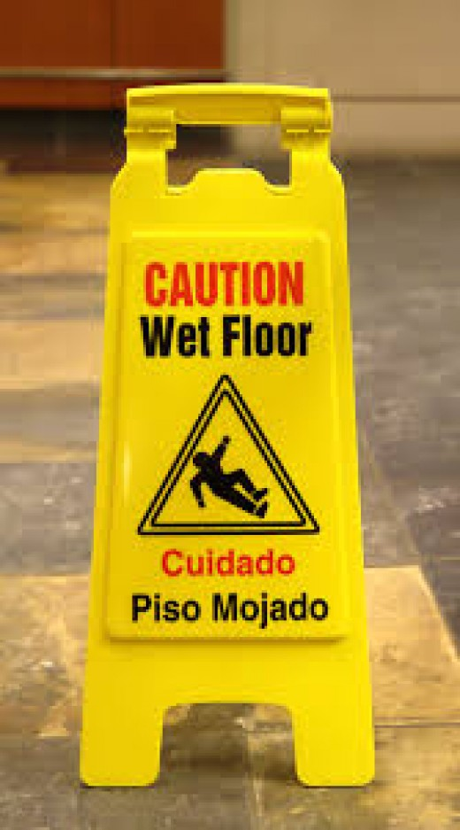 Warning of wet floors
