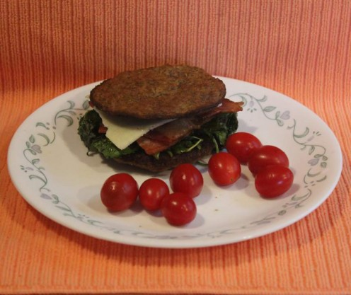 Bacon, spinach, cheese grain-free sandwirch