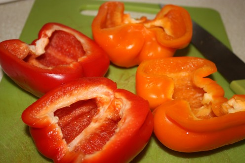 Bell Peppers cut in halves