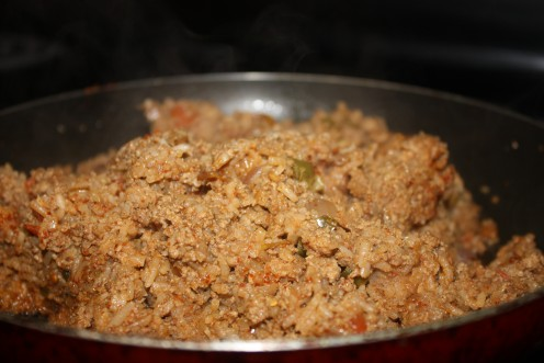 The meat and rice stuffing