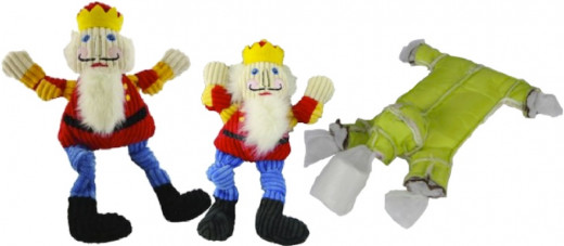 Holiday Knotties come in asst. sizes. Image on right shows durable inner construction of Knotties. Also available: Frosty, Santa, Rudolf, Elf and Others.