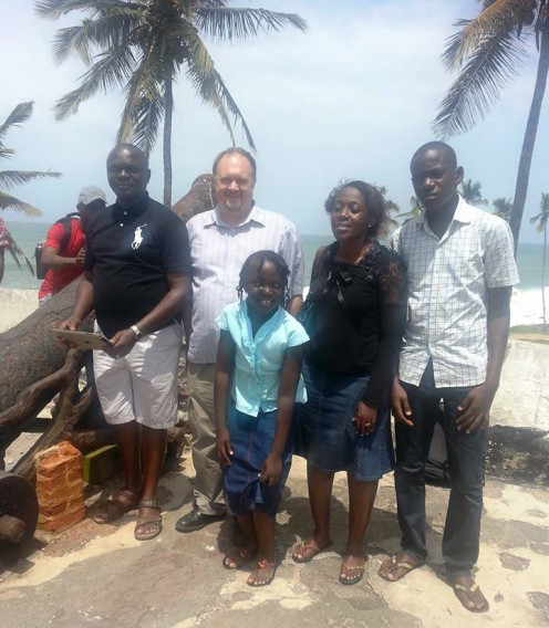 With Jimmy and family on Ghana's Gold Coast.