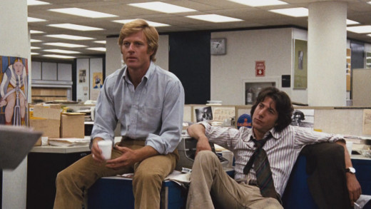 Robert Redford and Dustin Hoffman as Woodward and Bernstein.