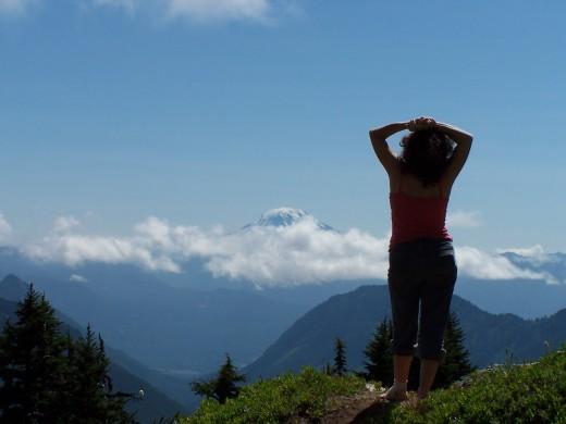 Bev, Bill's wife. At Pinnacle Peak, Cascade Mountains.