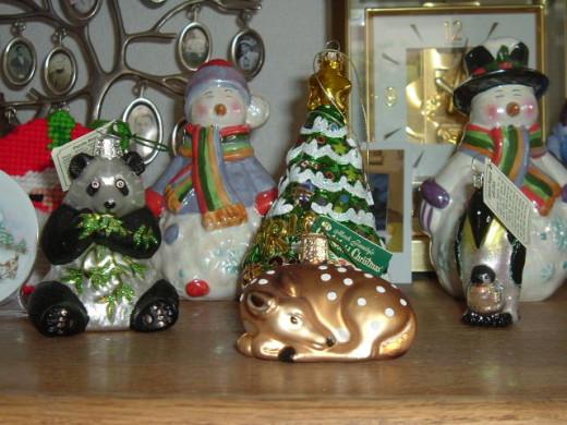 Old World Christmas ornaments on display