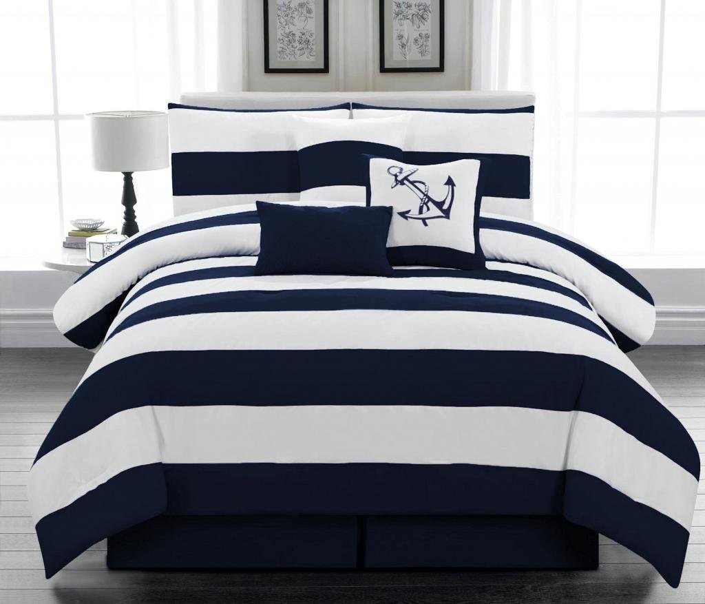 Pics photos navy blue and white striped comforter - Red white and blue sheets ...