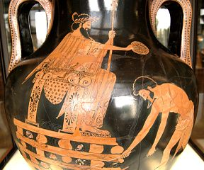 Scene with Croesus and Aesopus on pottery
