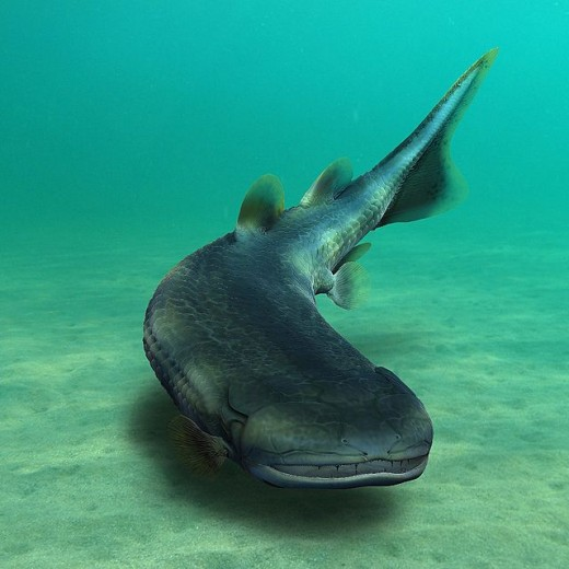 Laccognathus embryi, a lobe-finned fish; 22 fossils were discovered in the same place as the fishapod.