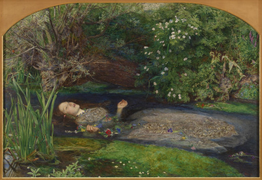 "A painting by Sir John Everett Millais, Bt called ""Ophelia"", depicting her death. This is on display in the Tate in England"