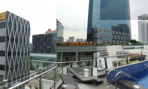 View Collage from roof pool at Fragrance Hotel Riverside. Clark Quay and MRT is directly across the street.