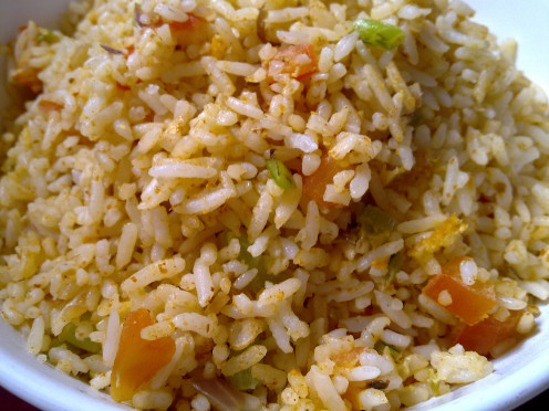 Regular Fried Rice is a boring meal for my kids. So, I added in Tom Yum paste and they fell in love with it!