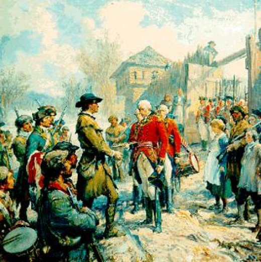 George Rogers Clark accepting surrender of Ft. Sackville in Vincennes, Indiana by Frederick Coffay Yohn. Spain provided some of the weapons and supplies used by Clark on this campaign which secured area between Appalachian Mts and Mississipi River fo