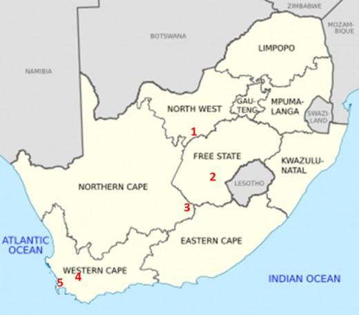 1-Klerksdorp, 2-Bloemfontein, 3-Colesberg, 4-Worcester, 5-Cape Town