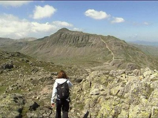 Here's one for the Brits in the audience: Julia Bradbury following one of Alfred Wainwright's walk routes in the Lake District