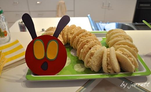Chicken salad sandwiches displayed as a caterpillar