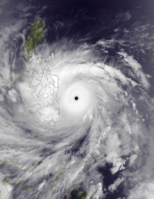 Typhoon Haiyan at peak intensity and approaching the Philippines on November 7, 2013.