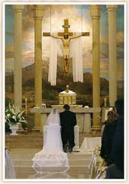 Marriage in a Catholic church.