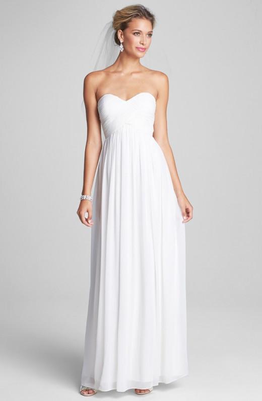 White Silk Chiffon Bridesmaid Dress--$230 ($298 plus-sized)