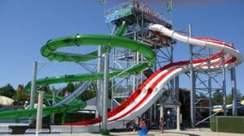 Funtown in Maine has some awesome water rides throughout the park. Be sure to use sunscreen to prevent getting burned.