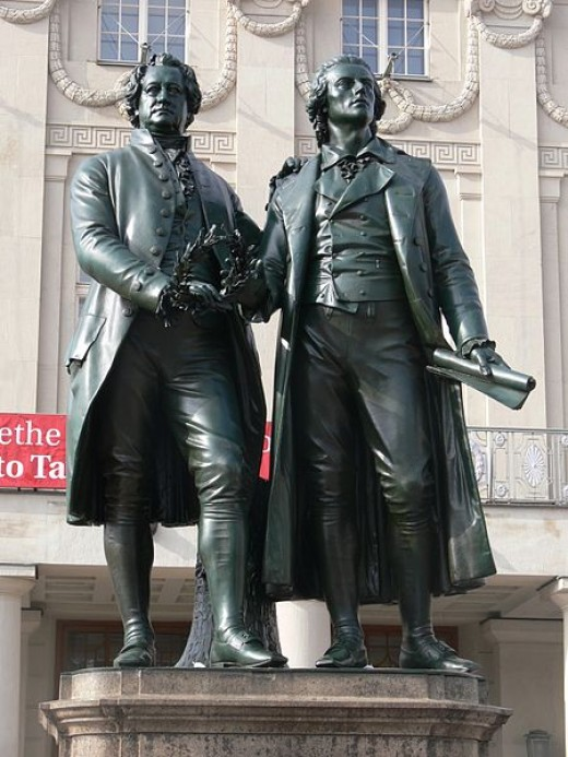 Goethe and Schiller monument in Germany