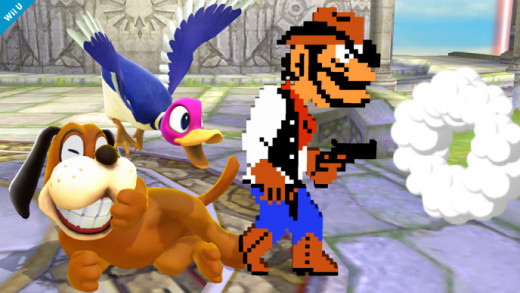 Duck Hunt attacking via a gunman from Wild Gunman