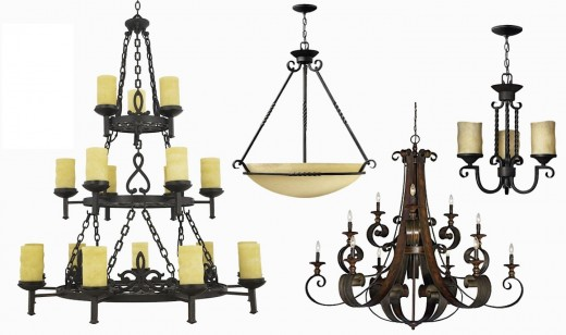 Quoizel La Parra 18-Light Chandelier with Scavo Glass Shades, Hinkley Casa Large Bowl Chandelier, Jeremiah Seville Imperial Bronze 12 Light Chandelier, and Casa 3 Light Chandelier in Olde Black. Also available in other types of lighting and sizes at