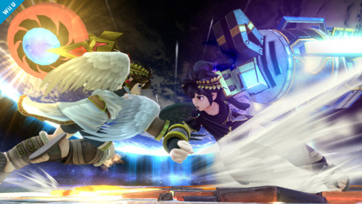 Dark Pit (right) and Pit (left) engage one another