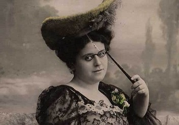 A woman with a lorgnette