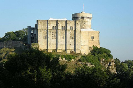 Falaise Castle, view from below - impregnable fortress in white Norman stone