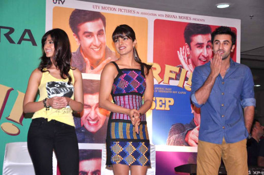 The three stars of Barfi, from left to right, Ileana D'Cruz, Priyanka Chopra, and Ranbir Kapoor