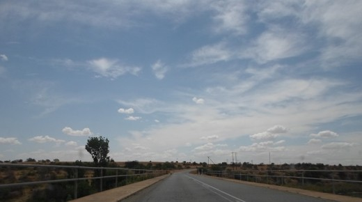 Free State, South Africa, R30, between Bloemfontein and Bothaville - Crossing a river