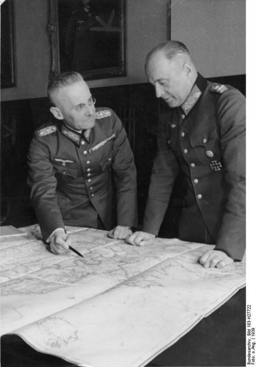 C-in-C German Army Generaloberst Walther von Brauchitsch (right) with his COS General der Artillerie Franz Halder in 1939.