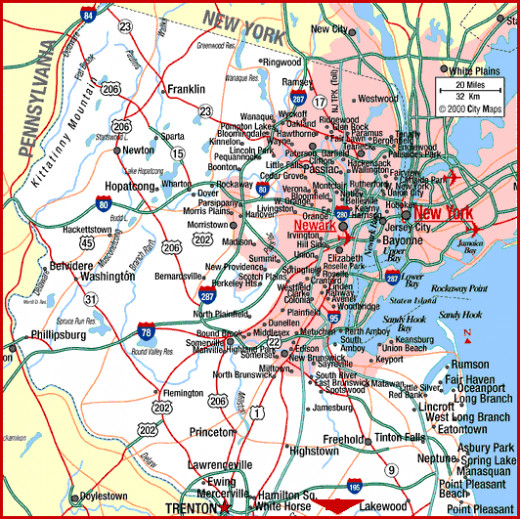 Map #1 lays out all state, interstate and US highways, as well as toll roads, in the northern half of the state of New Jersey.