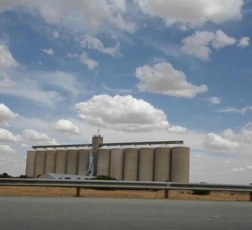 Free State, South Africa, R30, between Bothaville Bloemfontein - Many-many silo's for mealies along the road