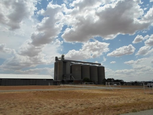 Free State, South Africa, R30, between Bothaville Bloemfontein - Many silo's for mealies along the road