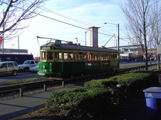 Streetcar on the Seattle Waterfront January 2005