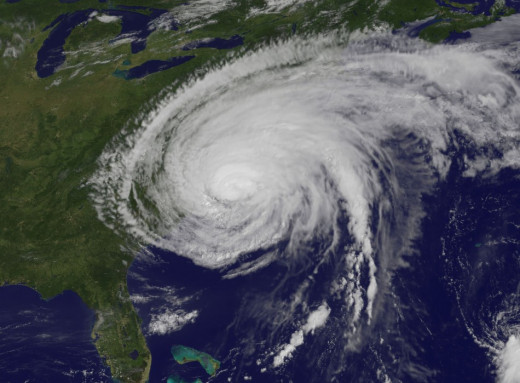 Hurricane Irene hitting the East Coast