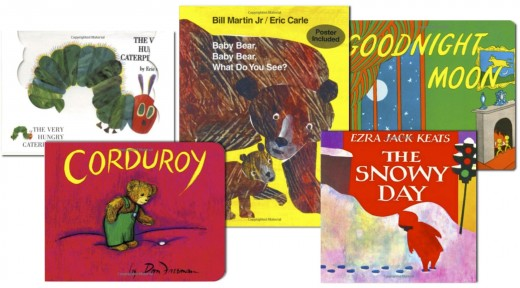 Board Books: The Very Hungry Caterpillar, Corduroy, Baby Bear, Baby Bear, What Do You See?, Goodnight Moon, and The Snowy Day. Find these and more at