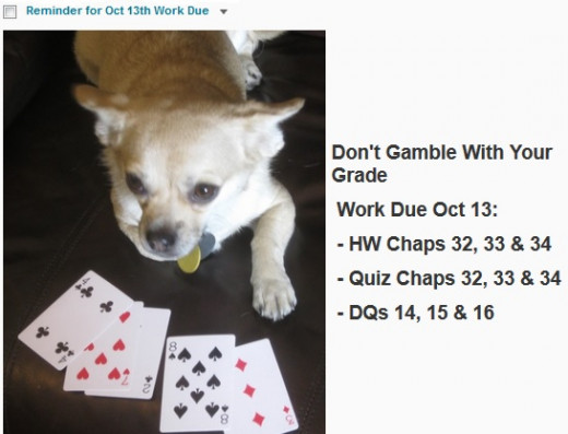 As course draws to a close, Chika reminds students not gamble with grade b procrastinating.
