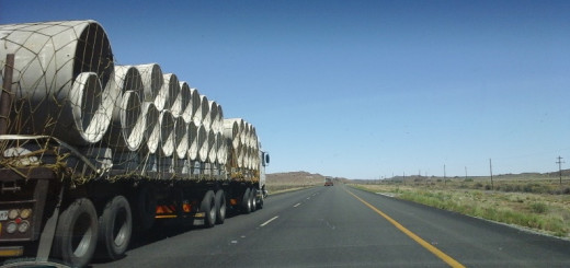 N1 between Cape Town and the northern provinces of South Africa - the traveller will find many heavy vehicles on this road