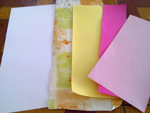reuse gift wrappers, color papers, etc