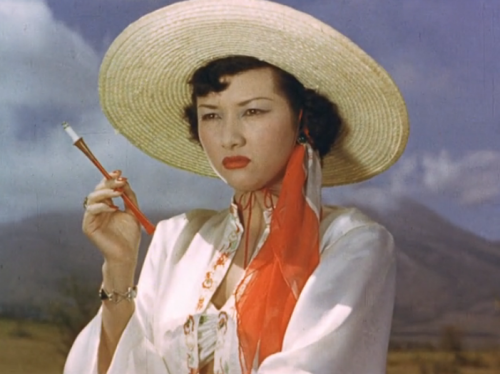 Hideko Takamine as the silly but lovable Lily Carmen in Kinoshita's Carmen Comes Home (1951)