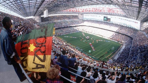 Fans in attendance during the opening game of the 1990 FIFA World Cup in San Siro in Milan, Italy. Cameroon upset defending champions Argentina 1-0, helping the African nation reach the quarter-finals.