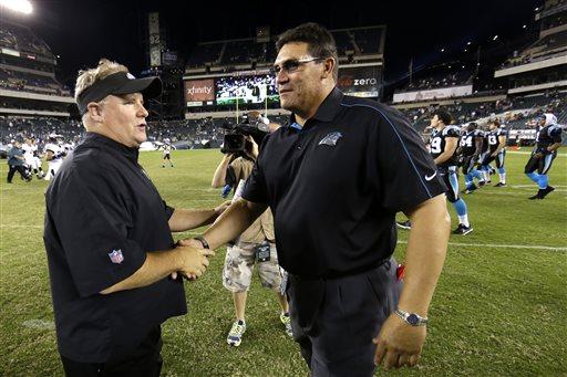 Philadelphia Eagles head coach Chip Kelly (l) and Carolina Panthers head coach Ron Rivera