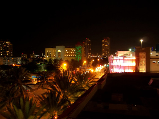 Miami at night from the roof of your hotel.