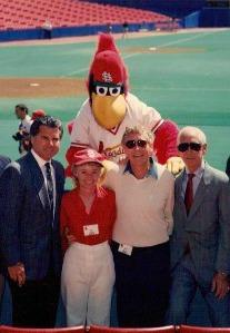 Jack Buck, Mike Shannon, Fredbird the Mascot