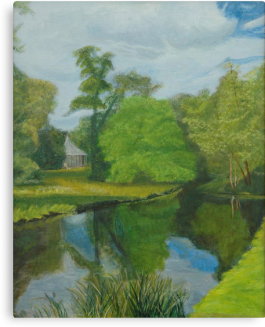 Can you see where the pixies are hiding in this acrylic version of a typical Capability Brown landscape? Capability Brown was an 18th century designer of gardens in England and he was famous for creating water features.